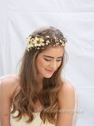 flower hair rustic floral hair vine of ivory daisies and pearls beaded