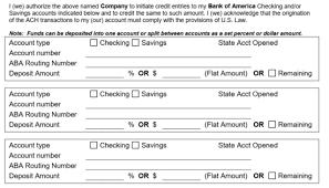 free bank of america direct deposit form pdf eforms u2013 free