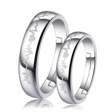 matching wedding rings for him and heart heartbeat engraved adjustable promise rings set for