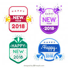 new year sticker collection of new year stickers in bright colours vector free