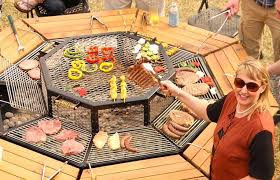 sit around grill table jag eight is a 3 in 1 hibachi grill picnic table fire pit fatherly