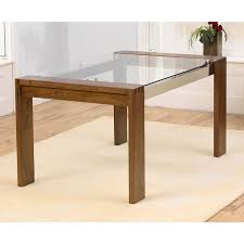 Wooden Base For Glass Dining Table Rectangle Glass Top Table With Four Brown Wooden Legs On The