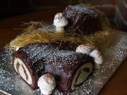 persimmon and peach buche de noel yule log cake