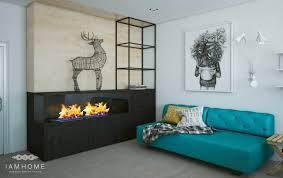 canape turquoise design d intérieur petit espace de relax avec cheminee residence