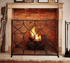 moroccan twist fireplace single screen pottery barn