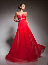 a line princess sweetheart long red chiffon beading evening prom dress