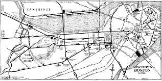 Map Downtown Boston by 1952 Downtown Boston Route Map