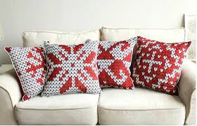 Red Geometric Decorative Pillows For Couch 18 Inch Throw Pillows