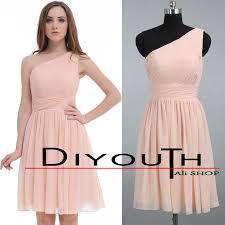 diyouth pearl pink sheath column one shoulder short chiffon