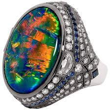 black opal 3 60 carat lightning ridge black opal ring at 1stdibs