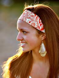 bandana hippie wide headband womens bandana hippie hairband orange