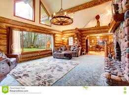 bright empty log cabin house interior with skylights stock photo
