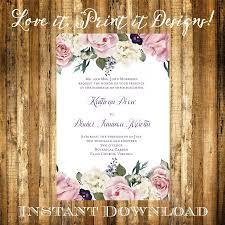 wedding invitation templates download wedding invitation or bridal shower diy template vintage floral