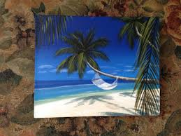 hammock in a palm tree painting tropical beachy style for my