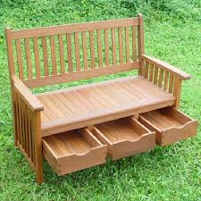 Garden Bench With Storage Hardwood Garden Bench With Storage Drawers Home Design Garden