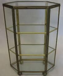 Curio Display Cabinets Uk Vntg Brass Glass Mirror Curio Display Shelf Case Cabinet Home