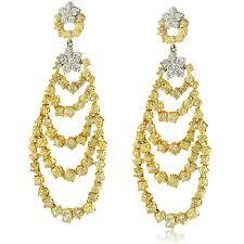 White Chandelier Earrings Fancy Yellow And White Diamond Chandelier Earrings