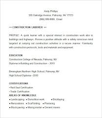 Sample Resume For Construction by Resume Construction 4561 Plgsa Org