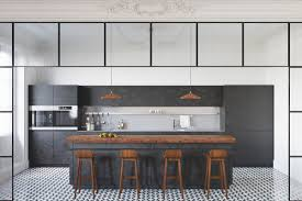 design charcoal and warm wood countertop kitchen island stencil