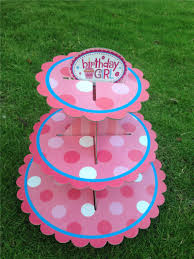 birthday baby shower party cardboard cupcake stand pink cupcakes