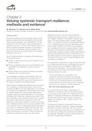 Valuing Systemic Transport Resilience Methods And Evidence
