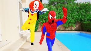 scary clown attacks kids w spiderman frozen elsa mcqueen cars