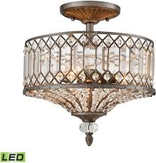 Flush Mount Led Lights Elk 11885 3 Led Paola Weathered Zinc Led Flush Mount Ceiling Light