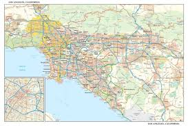 Los Angeles Street Map by Los Angeles Metro Wall Map Maps Com