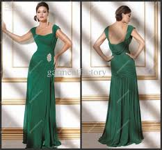 wholesale emerald green chiffon modest evening dresses gowns cap