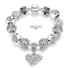 bracelet style pandora with charms images 21 cm bracelet style pandora charm coeur cristal argent 925 blanc jpg