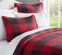 Red And White Buffalo Check Curtains Buffalo Check Duvet Cover U0026 Sham Red Black Pottery Barn