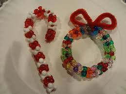 bead and pipe cleaner ornaments wreath and candy cane craft bead