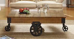 Rustic Coffee Table On Wheels Homelegance Factory Cocktail Table Solid Top With Wheels