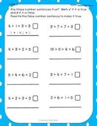 1 oa 7 true or false number sentence activity sentences numbers