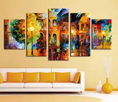 5 piece canvas wall art hand painted palette knife oil 5 panel wall decor modern art set beautiful city street scenery