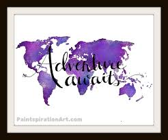 World Map Art Print by Adventure Quote Purple Art Print World Map Wall Decor