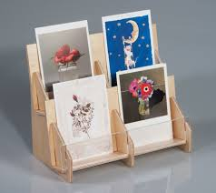 tiered countertop greeting card rack in birch pywood clear solutions