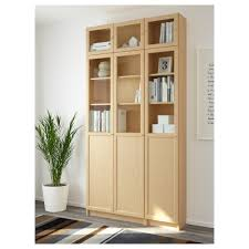 billy bookcase with doors white billy oxberg bookcase birch veneer glass 120x237x30 cm ikea