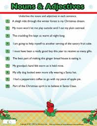 christmas nouns and adjectives 8 worksheets grammar and christmas