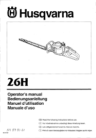 husqvarna 26h chainsaw owners manual