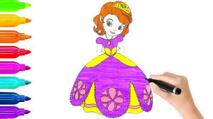 learn colors u0026 disney princess sophia coloring pages