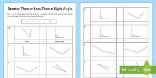 greater than or less than a right angle activity sheet