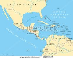 political map of central america and the caribbean middle america political map capitals borders stock vector