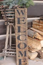 vertical welcome sign rustic welcom sign weathered barn wood front