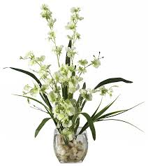 silk orchids liquid illusion silk orchids in green with vase