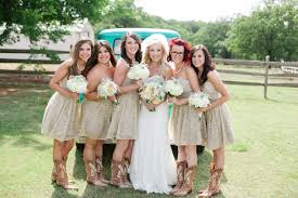 bridesmaid dresses with cowboy boots bridesmaids in cowboy boots archives southern weddings