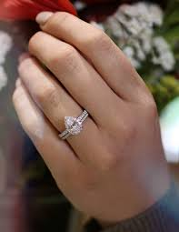 wedding band and engagement ring classic pear shaped diamond engagement ring with diamond wedding