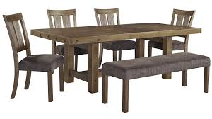 Rectangular Dining Room Table by Signature Design By Ashley Tamilo Gray Brown 6 Piece Rectangle