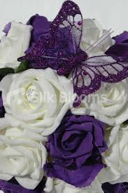 shop artificial ivory purple wedding pomander with butterfly