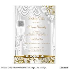 Invitation Card Birthday Elegant Gold Silver White Silk Champagne Birthday 5x7 Paper